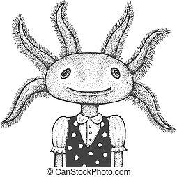 ilustración, grabado, axolotl