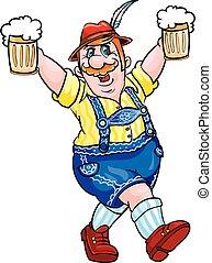 ilustración, hilarante, vector, borracho, oktoberfest, fiesta, cerveza, tipo, manos, jarras