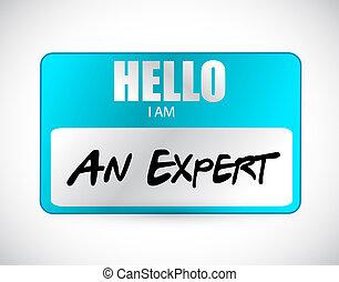 ilustración, hola, experto, etiqueta, diseño, nombre