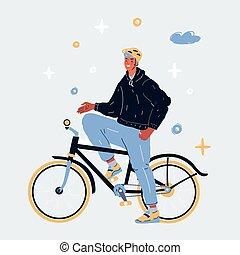 ilustración, hombre, bicicleta, vector