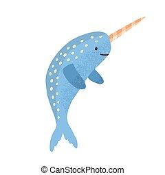 ilustración, horn., blanco, style., narwhal, vector, marina, encantador, lindo, aislado, animal, escandinavo, plano, caricatura, infantil, plano de fondo, narwhale