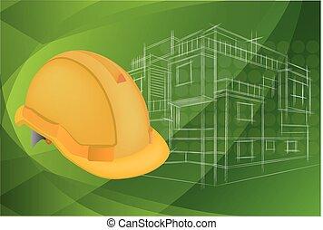 Ilustración, huellas azules de arquitectura y casco protector