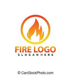 ilustración, icono, símbolo, fuego, diseño, blanco, aislado, fondo., logotipo, vector, template.