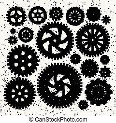 Ilustración industrial de ruedas mecánicas de metal y ruedas de engranaje. Ilustraciones de monocromo