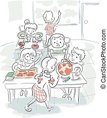 Ilustración infantil de geografía