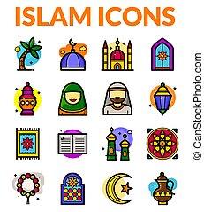 ilustración, islam, vector, iconos, conjunto