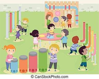 ilustración, jardín, niños, sensorio, stickman, musical