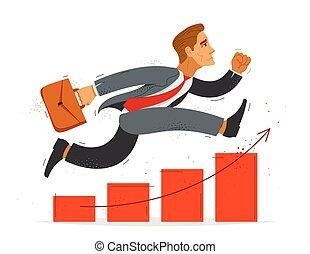 ilustración, lindo, caricatura, empresa / negocio, contador, vector, gráfico, success., prisa, crecimiento, divertido, apuro, hombre de negocios, o, corra, cómico, empleado, gráfico, trabajador, financiero, hombre