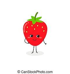 ilustración, lindo, vector, fresa, caricatura
