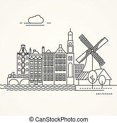 Ilustración lineal de Ámsterdam, Holanda.