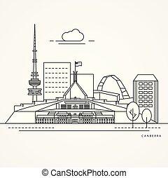 Ilustración lineal de canberra, australia.