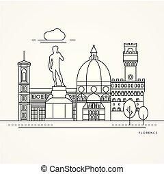 Ilustración lineal de Florencia, Italia.