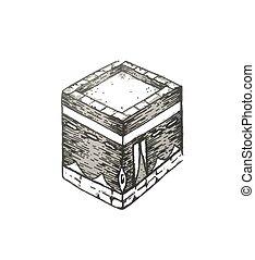 ilustración, mano, kaaba, arabia., santo, kaabah, vector, saudí, peregrinación, -, aislado, dibujado, mecca, lugar, bosquejo, hajj