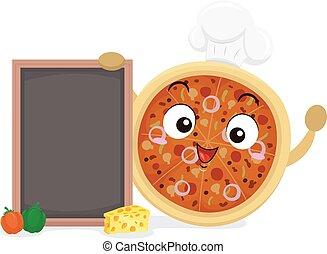 ilustración, mascota, tabla, pizza, chef