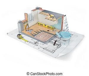 ilustración, materiales, edificio, 3d, interior, grande, concepto, reparación
