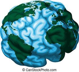 Ilustración mundial del mundo cerebral