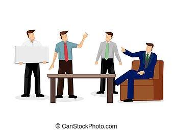 ilustración, negocio corporativo, discussion., equipo