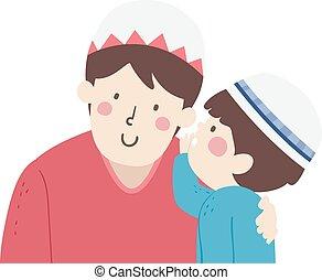 ilustración, niño, musulmán, padre, susurro, niño