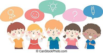 ilustración, niños, charla, otro, cada
