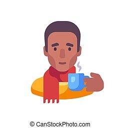 ilustración, norteamericano, africano, bufanda, tipo, té, bebida, plano