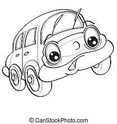 ilustración, ojos, coche, colorido, objeto, plano de fondo, blanco, bosquejo, vector, grande, aislado, carácter