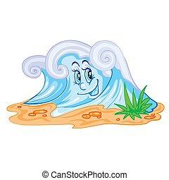 ilustración, ojos, objeto, onda grande, arroyo, o, plano de fondo, blanco, río, vector, azul, aislado, carácter