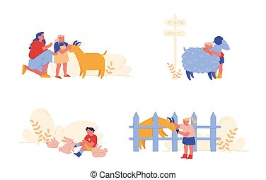 ilustración, pasar, sheep, agricultura, caracteres, niños, cuidado, parents., gente, niña, doméstico, poco, vector, animales, conejos, caricatura, niños, niño, goat., weekend., caricias, tiempo, madre, visita