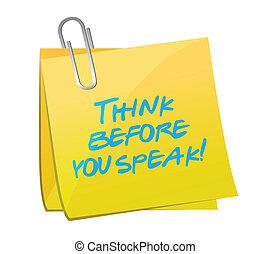 ilustración, pensar, diseño, poste, hablar, usted, antes