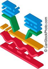 ilustración, piel, icono, vector, isométrico, estructura