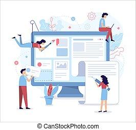 Ilustración plana de desarrollo web