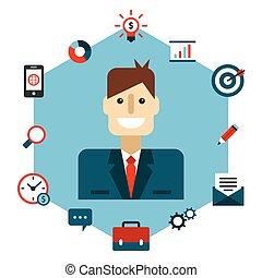 Ilustración plana de gestión de negocios.
