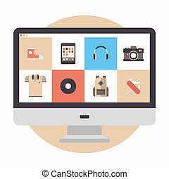 Ilustración plana de la tienda en línea