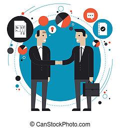 Ilustración plana de sociedad comercial