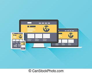 Ilustración plana moderna del sitio web