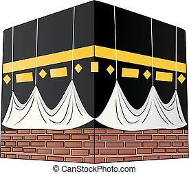 ilustración, plano de fondo, aislado, blanco, kaaba