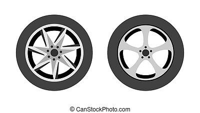 ilustración, plano de fondo, -, rueda, tienda, logotipo, o, neumático, vector, blanco, reparación, icono, conjunto, wheels., aislado