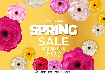 ilustración, plano de fondo, vector, template., primavera, cartel, vívido, natural, venta, flores