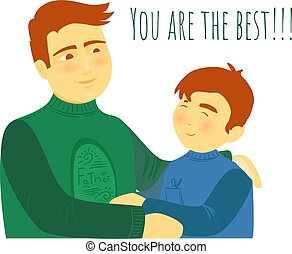 ilustración, plano, padre, togather, hijo