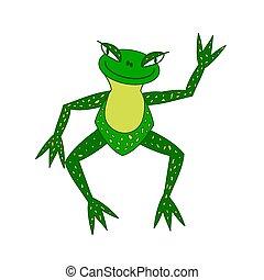 Ilustración, rana verde alegre con mayor ojo