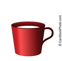 Ilustración realista de la copa roja aislada en el fondo blanco