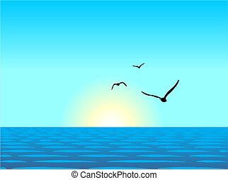 Ilustración realista del paisaje marino