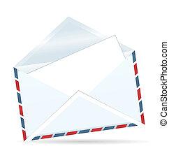 Ilustración realista del sobre abierto de correo