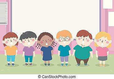 ilustración, recitation, niños, coral, aula