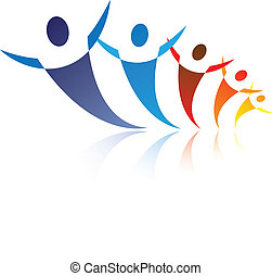 ilustración, representa, gráfico, feliz, red, colorido, gente, ser, positivo, comunidad, juntos, social, amigos, o, symbols/icons