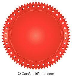 ilustración, rojo, sello