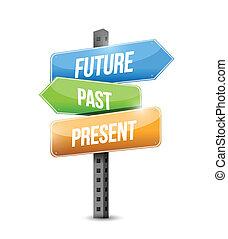ilustración, señal, pasado, futuro, diseño, presente