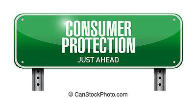 ilustración, señal, protección, diseño, consumidor, camino