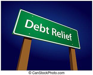 ilustración, señal, vector, verde, alivio, deuda, camino