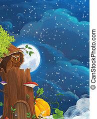 ilustración, sentado, escena, caricatura, -, búho, noche, árbol