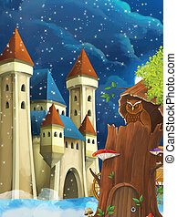 ilustración, sentado, escena, caricatura, castillo, búho, -, noche, árbol